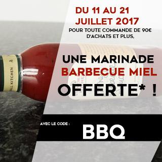 POUR TOUTE COMMANDE DE 90€ D'ACHATS ET PLUS, UNE MARINADE BARBECUE ET MIEL OFFERTE* !