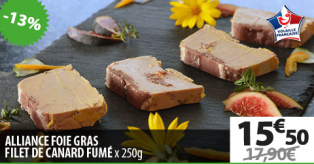 ALLIANCE FOIE GRAS - FILET DE CANARD FUMÉ X250G